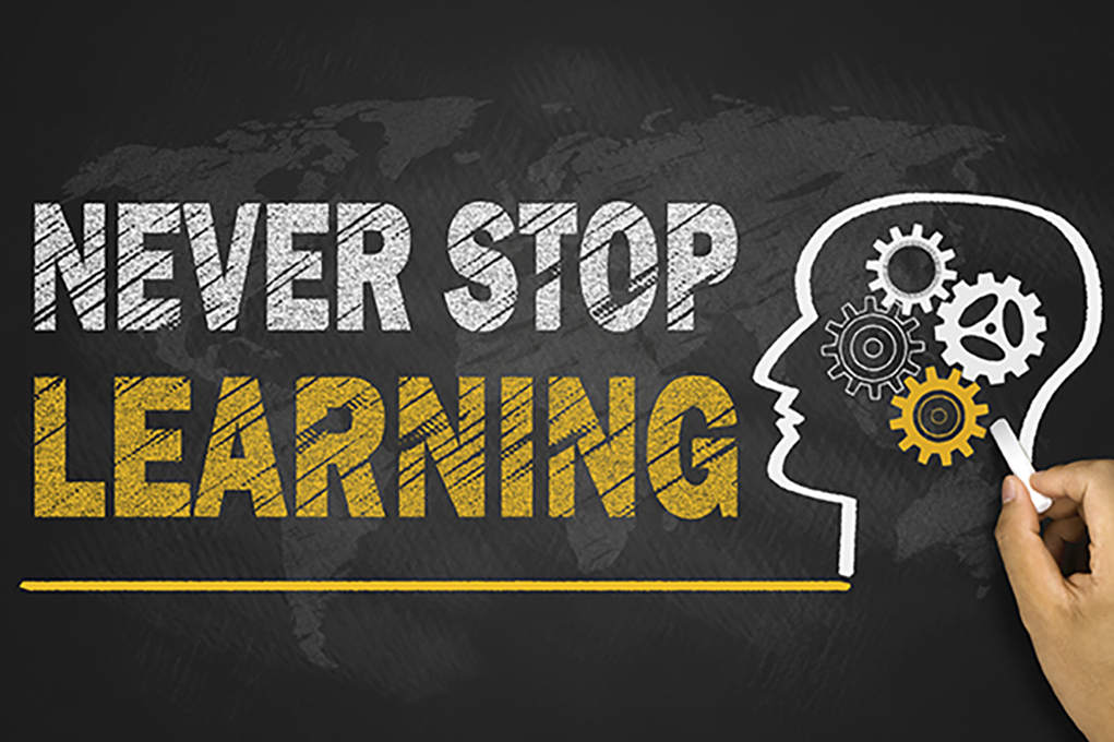 never stop learning concept on blackboard
